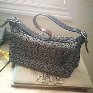 Coach bag small purse signature jacquard tan trim